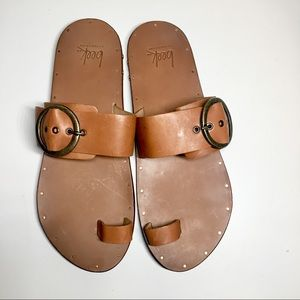 New! BEEK Swift Handmade Tan Leather Sandals